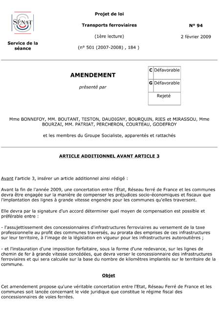 Amendement n°2 du 2 février 2009