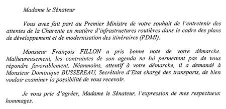 Réponse de Mr Fillon