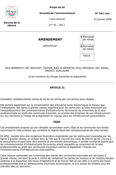 Amendement n°1 du 27 janvier 2009