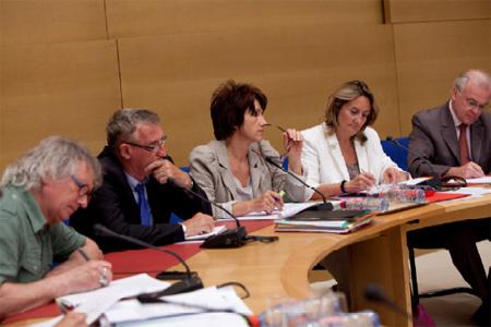 Table ronde du 24 juillet 2012 au Sénat sur les effets des pesticides sur la santé des utilisateurs, de leur famille et des riverains. Photo : Sénat