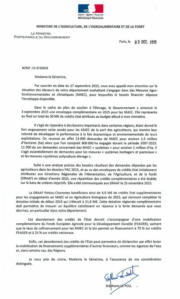 Courrier du 03/12/15 de Stéphane Lefoll