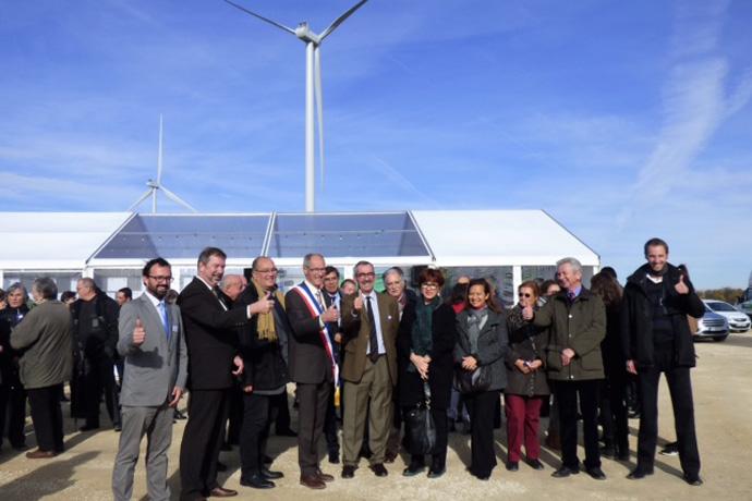 """Inauguration du parc éolien """"Compagnie du Vent"""" de Fontenille. Photo : M. Lavaud"""